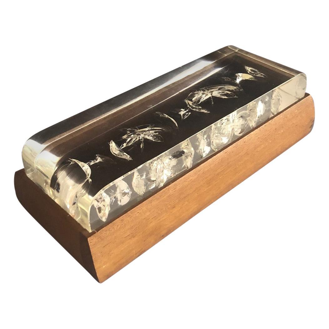Mid-Century Modern Walnut and Lucite Trinket Box