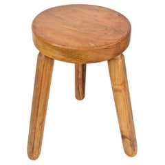 Mid-Century Modern Wood French Tripod Stool After Charlotte Perriand, 1950s