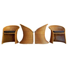 Mid-Century Modern Woven Rattan and Wicker Barrel Back Club Chairs, Set of Four