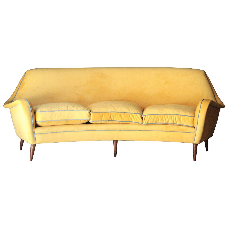 Midcentury Modern Yellow Blue Velvet Curved Sofa Italy, 1950