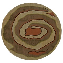 Midcentury Modernist Art Deco Circular Wool Rug in Cool Brown, Orange and Green