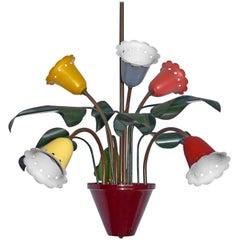 Midcentury Modernist Chandelier Flower Bouquet in the Style of Stilnovo 6-Light