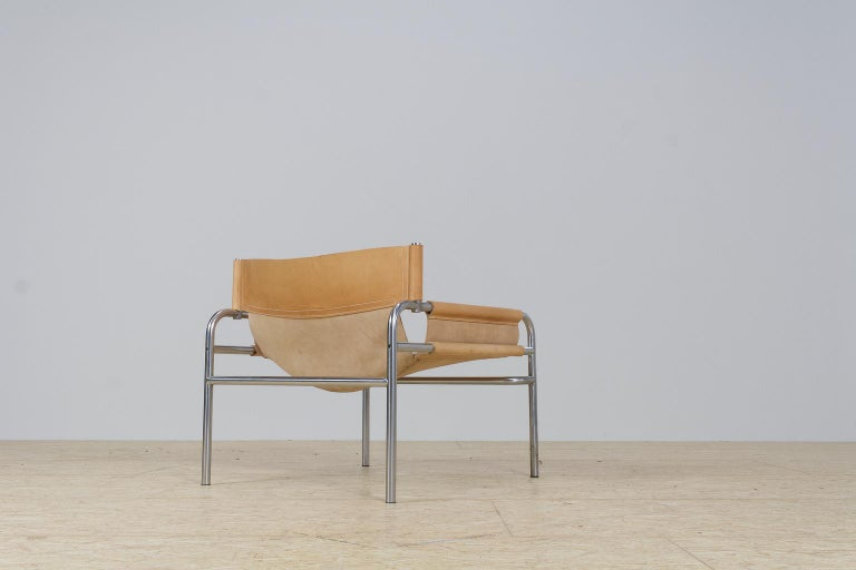 Dutch Mid-Century Modernist Lounge Chairs in Saddle Leather by Walter Antonis, 1974 For Sale