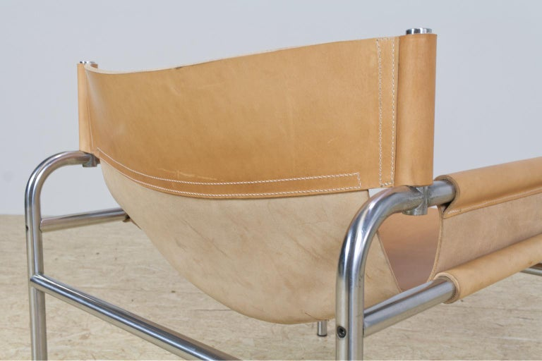 Mid-Century Modernist Lounge Chairs in Saddle Leather by Walter Antonis, 1974 For Sale 1