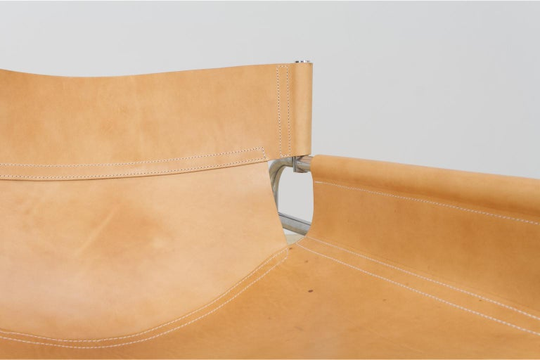 Mid-Century Modernist Lounge Chairs in Saddle Leather by Walter Antonis, 1974 For Sale 2