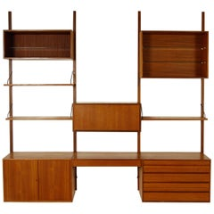 Midcentury Modular Danish Royal System Teak Wall Unit Shelving by Poul Cadovius