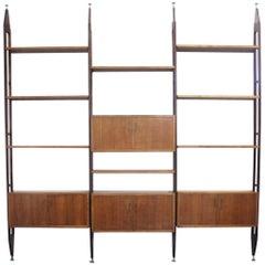 Midcentury Modular Wood Italian Albini's LB7 Style Bookcase, 1960s