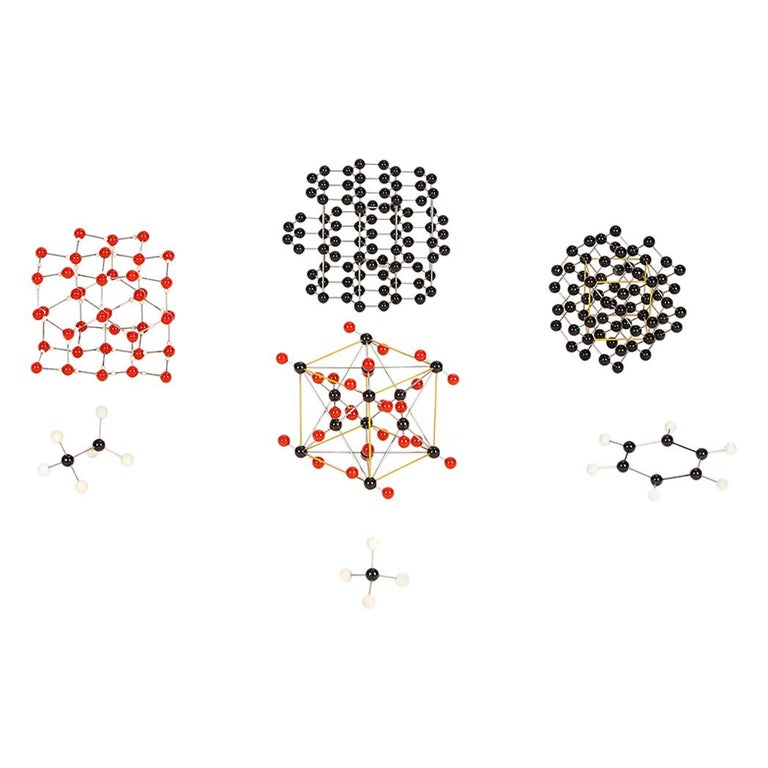 Midcentury Molecular Models Set from the 1950s, 7 Pieces For Sale