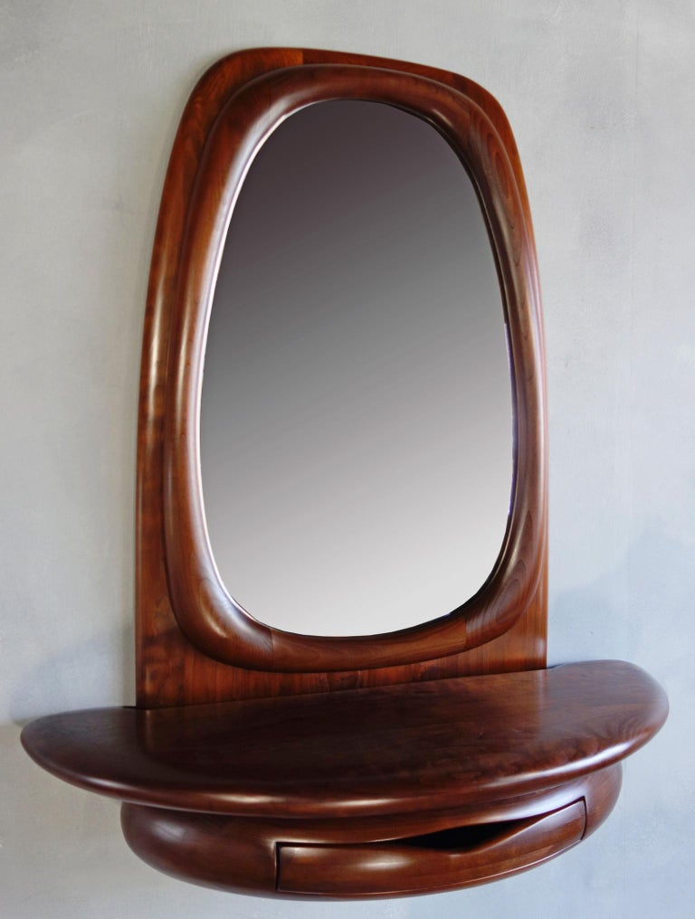 Wood Midcentury Monumental Riverstone Mirror by Dean Santner For Sale
