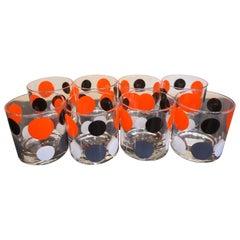 "Mid-Century Morgan Glass Retro Barware Set Multi-Color ""Polka Dot"" Design"