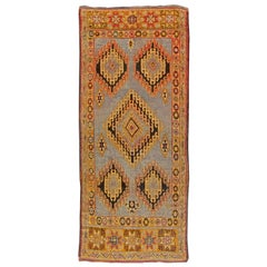 Midcentury Moroccan Area Rug with Tribal Geometric Design on a Blue Background