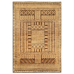 Midcentury Moroccan Beige and Brown Handmade Wool Rug