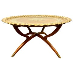 Midcentury Moroccan Brass Tray on Mahogany Folding Stand Coffee Cocktail Table