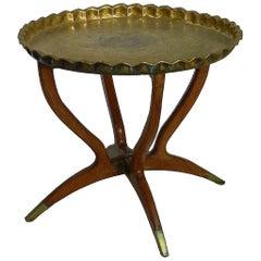 Midcentury Moroccan Brass Tray Table on Spider Folding Stand Moorish