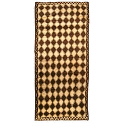 Midcentury Moroccan Brown and Beige Handmade Wool Rug