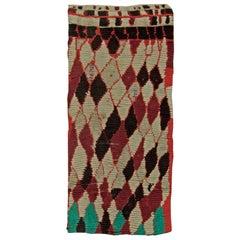 Midcentury Moroccan Dark Red, Black and White Handmade Wool Rug
