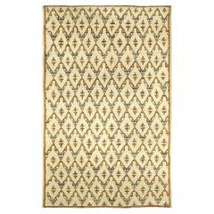 Mid-20th century Moroccan Geometric Beige, Orange and Blue Handmade Wool Rug