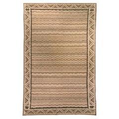 Mid-20th century Moroccan Beige, Brown and Black Handmade Wool Rug