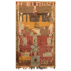 Midcentury Moroccan Handmade Wool Rug in Mocha, Carmine, Brown, Beige and Yellow