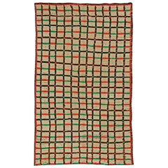 Midcentury Moroccan Handmade Wool Rug in Red, Green and Brown