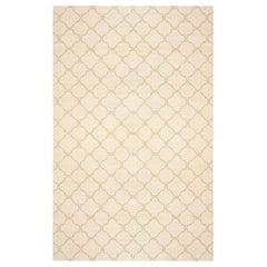 Midcentury Moroccan Ivory and Brown Handmade Wool Rug