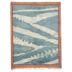 Midcentury Moroccan Light Blue, White and Pale Orange Handwoven Wool Rug