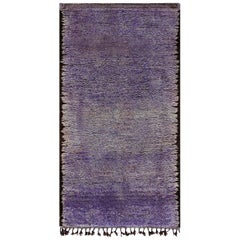Mid-20th century Moroccan Solid Purple Handwoven Wool Rug