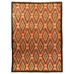 Midcentury Moroccan Red, Blue, Tan, Yellow and Cream Handmade Wool Rug