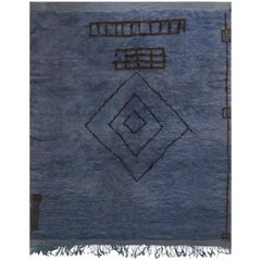 Midcentury Moroccan Reversible Deep Blue Hand Knotted Wool Rug