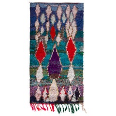 Midcentury Moroccan Rug Blue and Purple Vintage Berber Diamond Pattern
