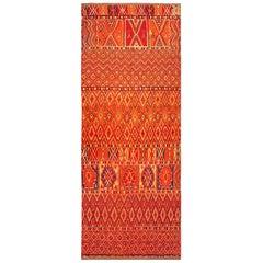 Midcentury Moroccan Tribal Red and Orange Handmade Rug