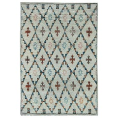 Midcentury Moroccan White, Blue and Orange Handmade Wool Rug