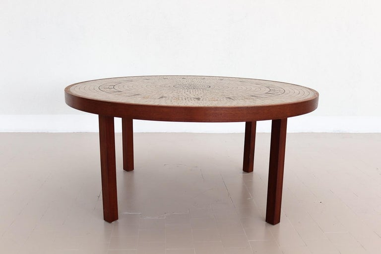 Midcentury Mosaic and Teak Sofa Table or Coffee Table by Berthold Muller, 1960s For Sale 3