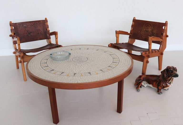 Midcentury Mosaic and Teak Sofa Table or Coffee Table by Berthold Muller, 1960s For Sale 5
