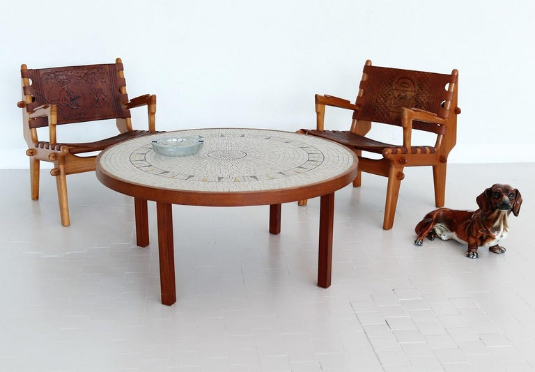 Mid-Century Modern Midcentury Mosaic and Teak Sofa Table or Coffee Table by Berthold Muller, 1960s For Sale