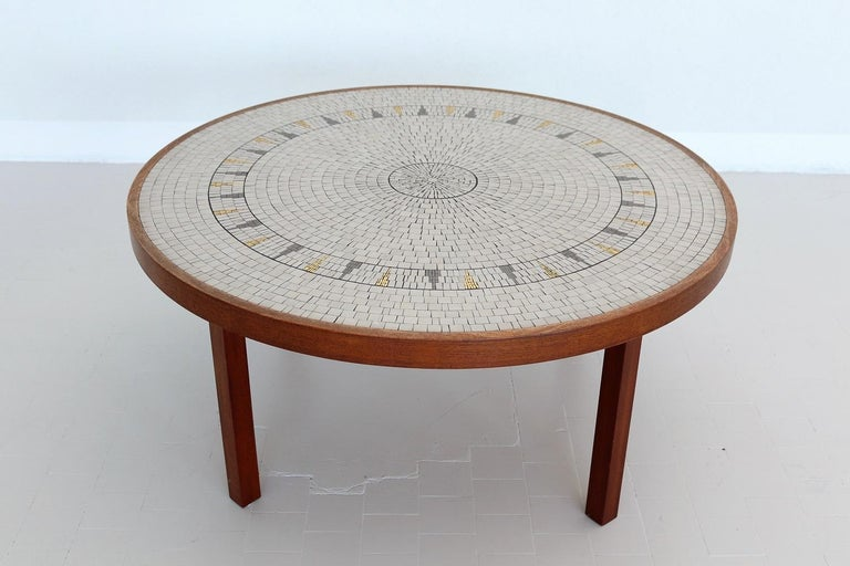German Midcentury Mosaic and Teak Sofa Table or Coffee Table by Berthold Muller, 1960s For Sale