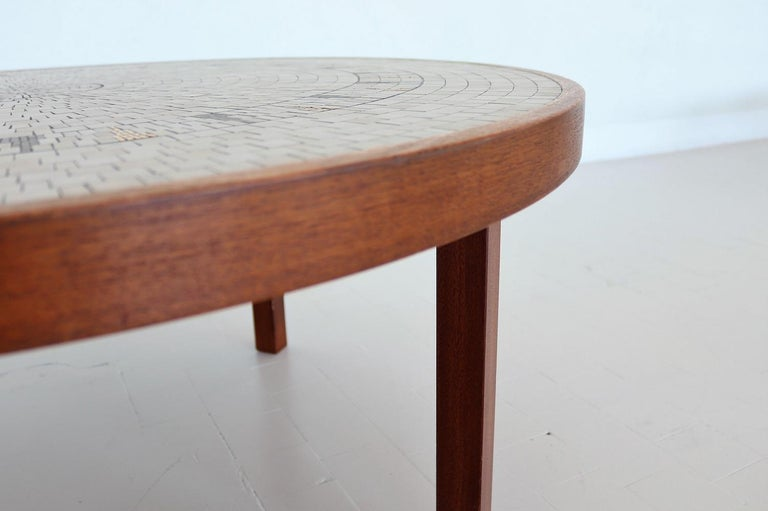 Midcentury Mosaic and Teak Sofa Table or Coffee Table by Berthold Muller, 1960s For Sale 2