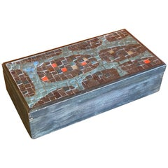 Midcentury Mosaic and Wood Lidded Box