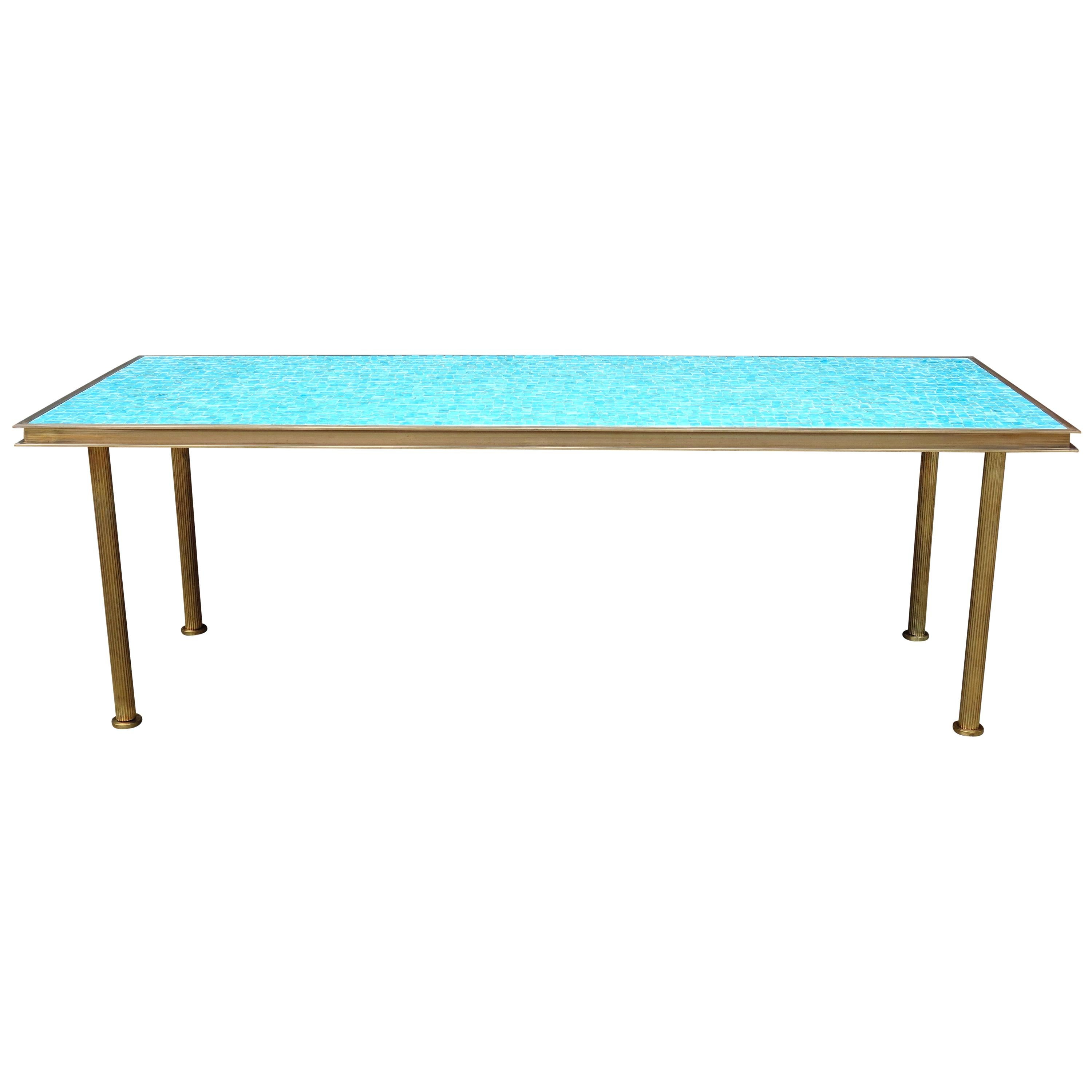 Midcentury Mosaic Coffee Table with Brass Frame