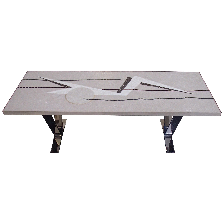 Midcentury Mosaic Rectangular Coffee Table with Chrome Legs