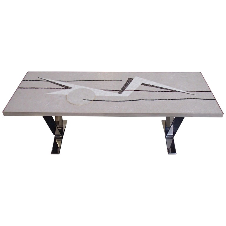 Midcentury Mosaic Rectangular Coffee Table with Chrome Legs For Sale