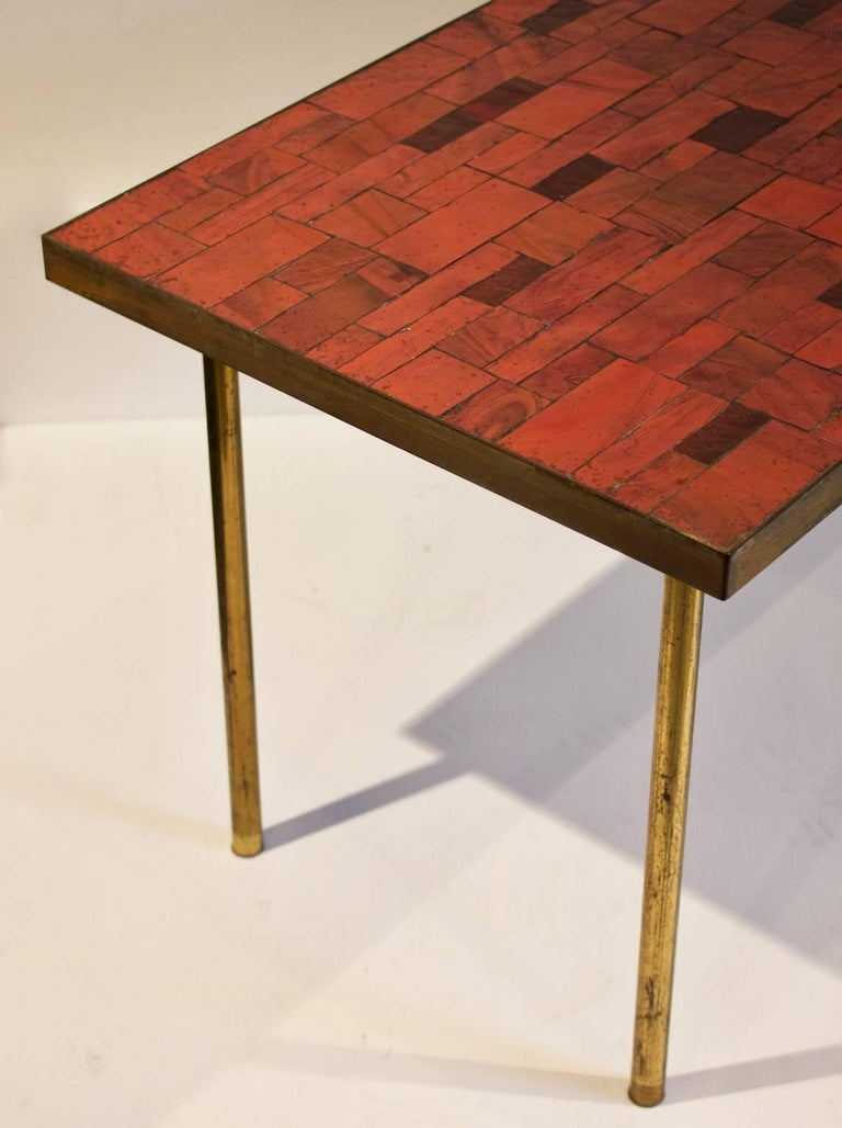 Mid-Century Modern Midcentury Mosaic Side Table in Warm Red Tones by Müller, Germany, 'Signed' For Sale