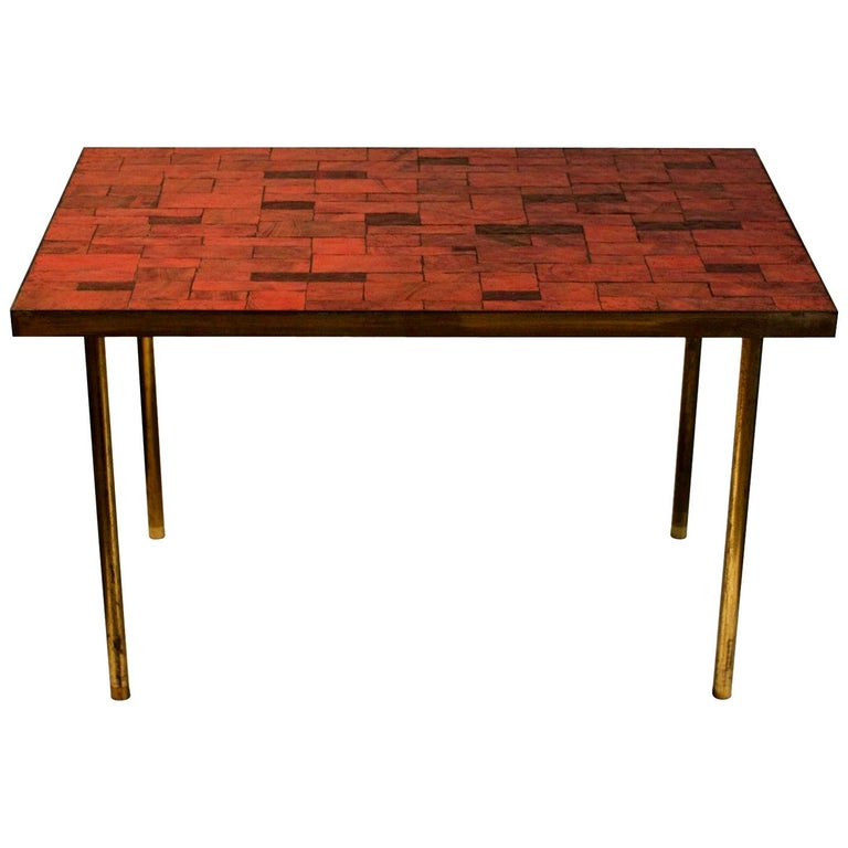 Midcentury Mosaic Side Table in Warm Red Tones by Müller, Germany, 'Signed' For Sale