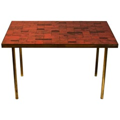 Midcentury Mosaic Side Table of Deep Red Stone by Müller, Germany, 'Signed'