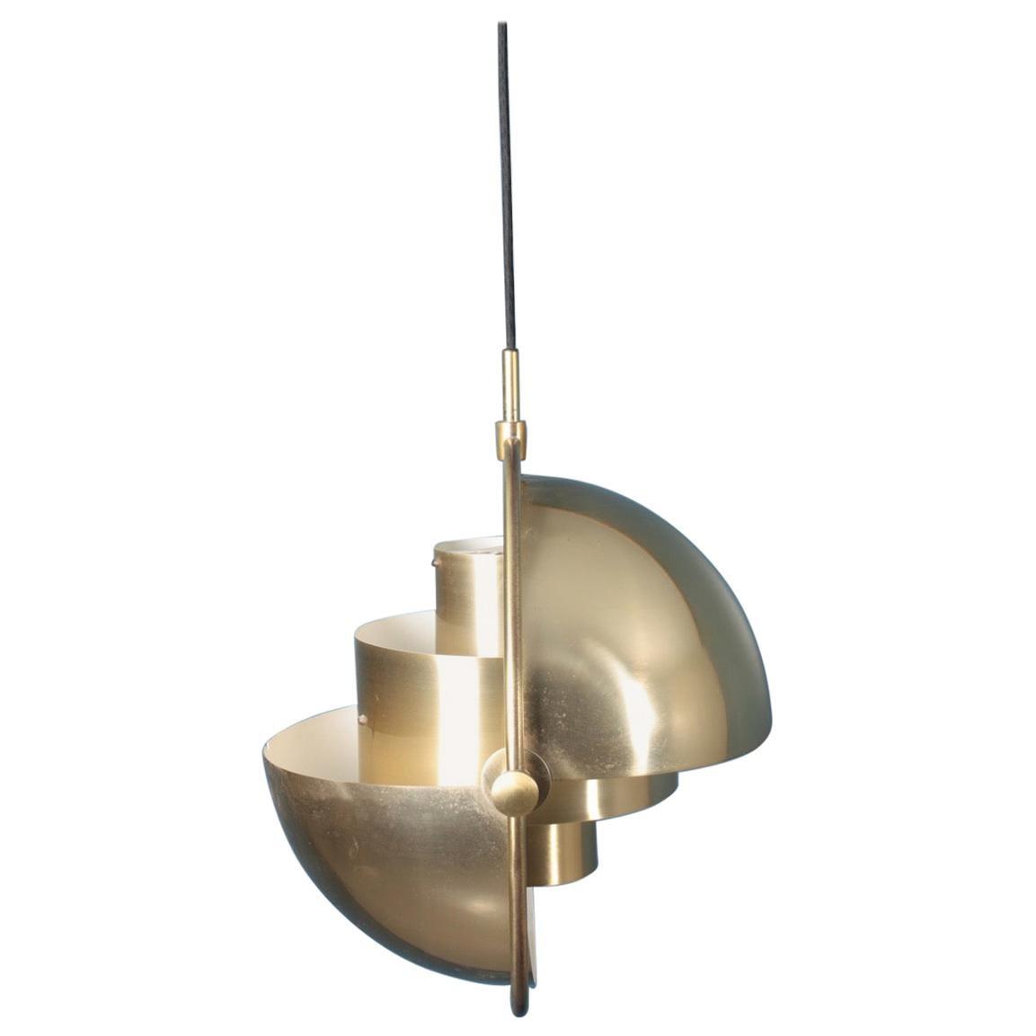 Midcentury Multi Light Pendant in Brass by Louis Weisdorf, Danish Design, 1960s