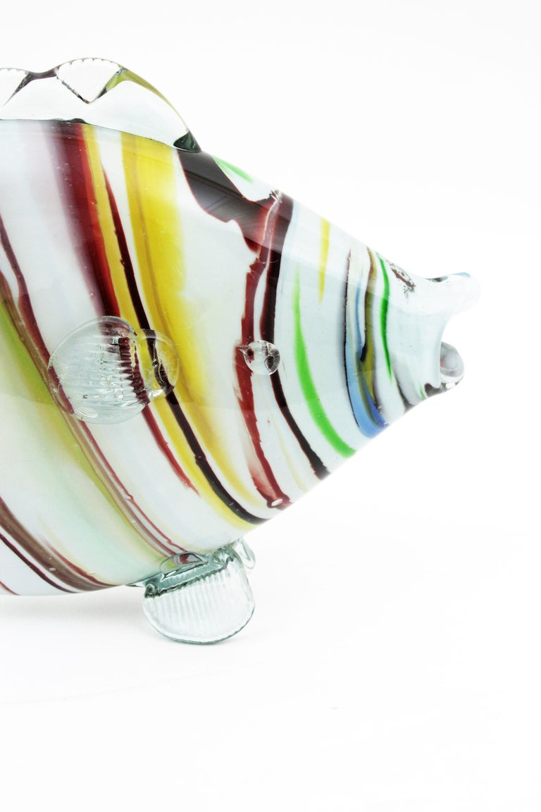 Midcentury Multi-Color Stripped Medium Scale Murano Blown Glass Fish Sculpture For Sale 3