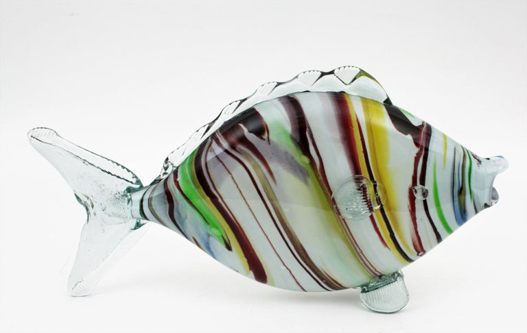 Mid-Century Modern Midcentury Multi-Color Stripped Medium Scale Murano Blown Glass Fish Sculpture For Sale