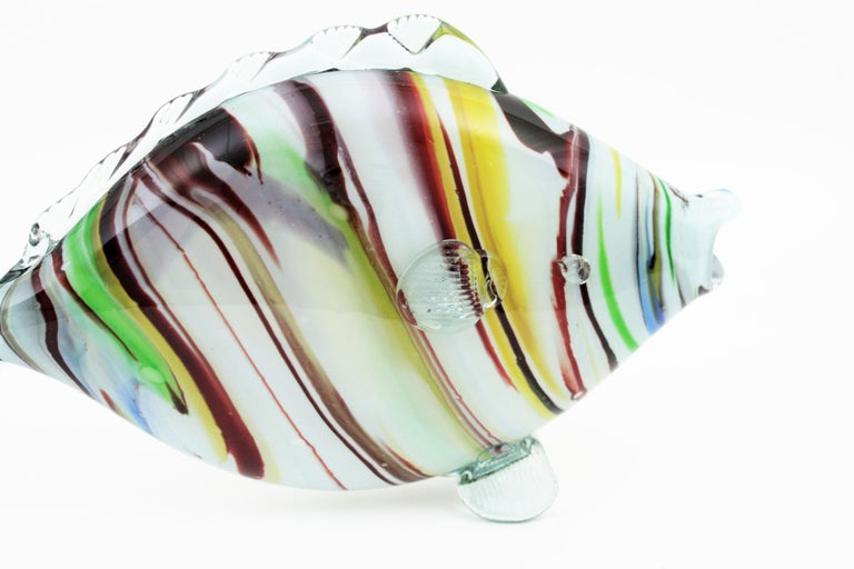 Italian Midcentury Multi-Color Stripped Medium Scale Murano Blown Glass Fish Sculpture For Sale