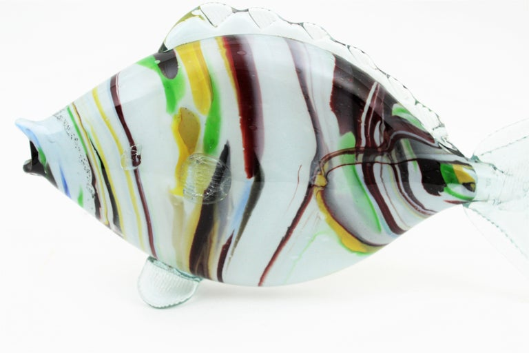 Midcentury Multi-Color Stripped Medium Scale Murano Blown Glass Fish Sculpture For Sale 1