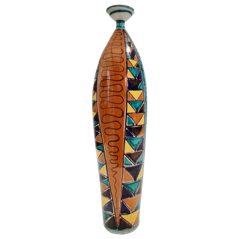 Midcentury Multicolored Lacquered Ceramic Vase, Italy